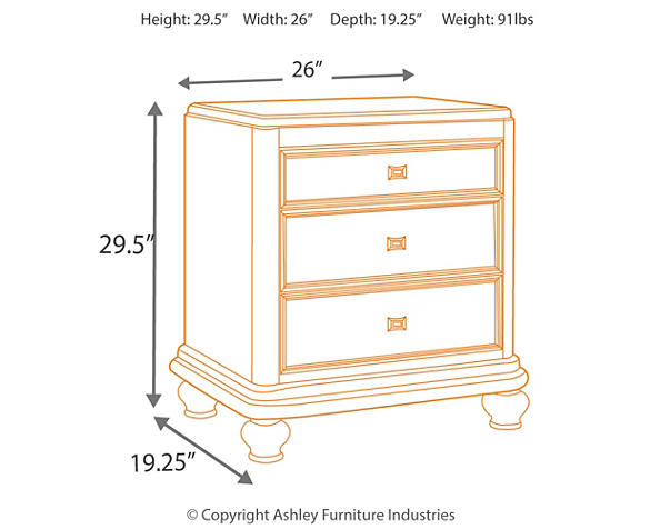 hot sale online 6593d 65c63 Coralayne Three Drawer Night Stand - Corporate Website of ...