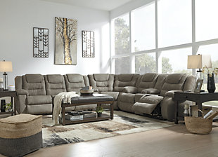 Large Mccade 3 Piece Reclining Sectional Rollover