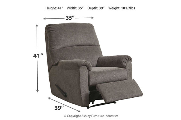 Nerviano Recliner, Gray, large