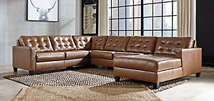 Baskove 4-Piece Sectional with Chaise, Auburn, rollover
