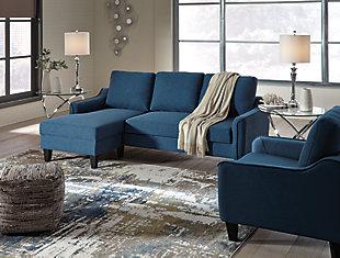 Jarreau Sofa Chaise and Chair, Blue, large