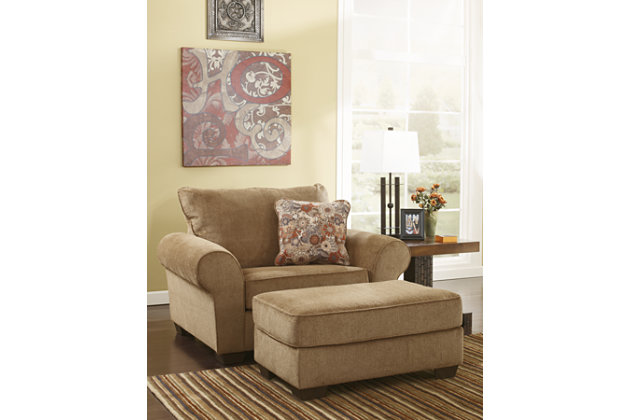 Casual Chair and Ottoman in light brown
