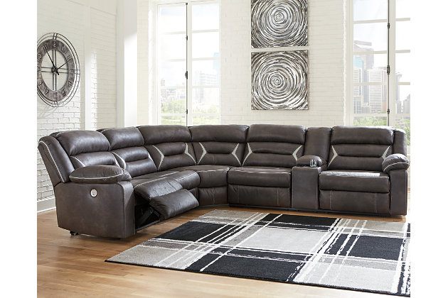 Kincord 4 Piece Power Reclining, Gray Leather Sectional Ashley Furniture