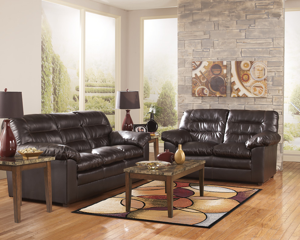 Great A Knox Durablend Sofa Living Room Set, Sculpted With Rounded Edges And  Contemporary Detailing
