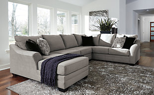 Large Palempor 3 Piece Sectional With Chaise Rollover