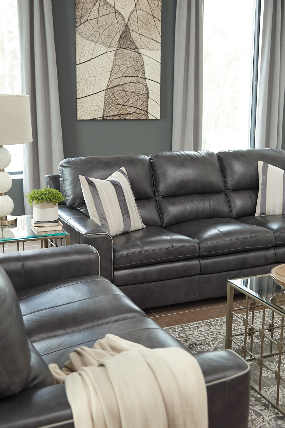 Gleason Sofa Corporate Website Of Ashley Furniture Industries Inc  ~ Charcoal Gray Leather Sofa