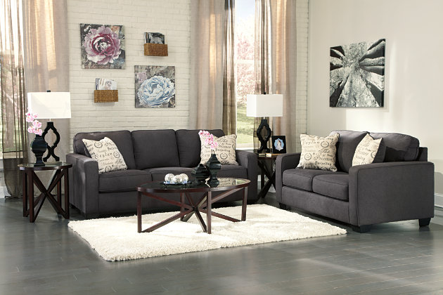 ... Alenya Sofa And Loveseat, Charcoal, Large ...