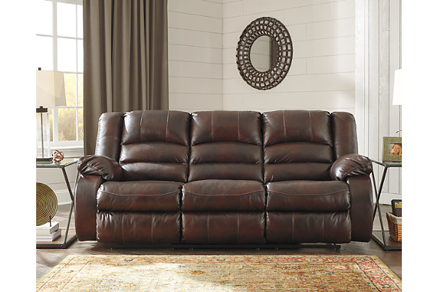 Levelland Reclining Sofa by Ashley HomeStore, Brown, Leat...