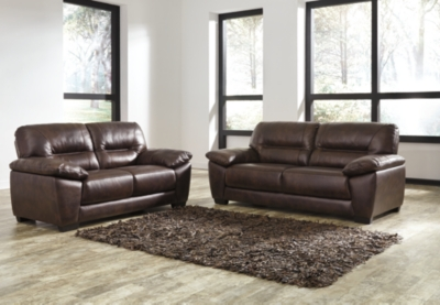 Ashley Mellen Sofa and Loveseat, Walnut Leather