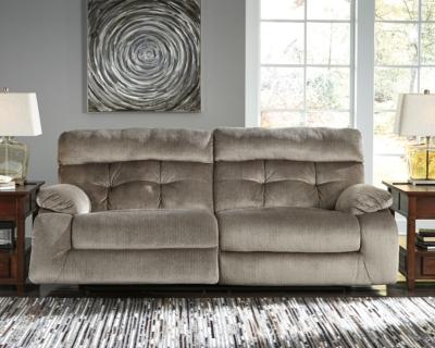 Brassville Power Reclining Sofa, Graystone, large
