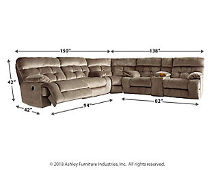 Brassville 3-Piece Power Reclining Sectional, Graystone, large