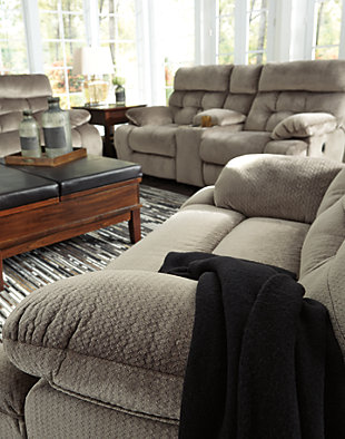 Brville Reclining Sofa Graystone Large