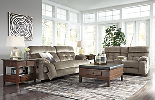 Brassville Reclining Sofa, Graystone, rollover
