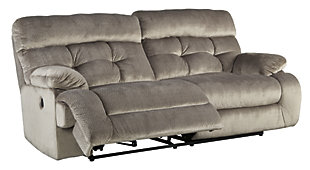 Brassville Power Reclining Sofa, Graystone, rollover