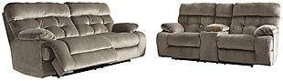 Brassville Sofa and Loveseat, Graystone, rollover