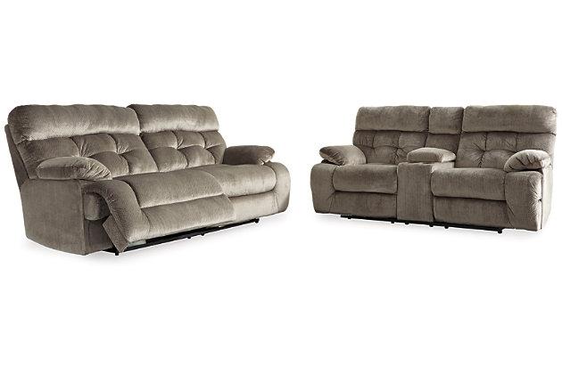 Brassville Sofa and Loveseat, Graystone, large