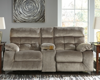 Reclining Loveseat Console Graystone Power Product Photo 634