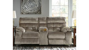 Brassville Power Reclining Loveseat with Console, Graystone, rollover