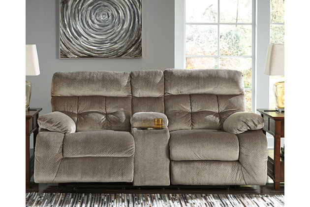 Brassville Power Reclining Loveseat with Console, Graystone, large