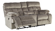 Brassville Reclining Loveseat with Console, Graystone, rollover