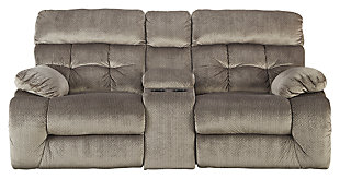 Brassville Reclining Loveseat with Console, Graystone, large