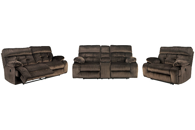 Brassville Sofa, Loveseat and Recliner, Chocolate, large