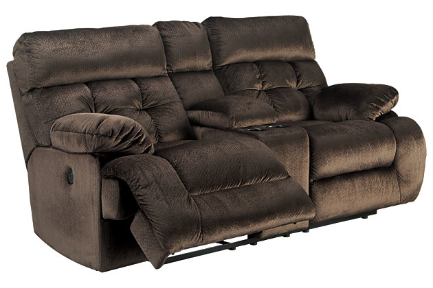 Brassville Power Reclining Loveseat with Console, Chocolate, large