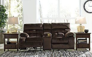 Brassville Reclining Loveseat with Console, Chocolate, large