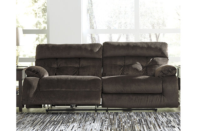 Brassville Power Reclining Sofa, Chocolate, large