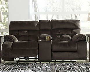Brassville Power Reclining Loveseat with Console, Chocolate, rollover