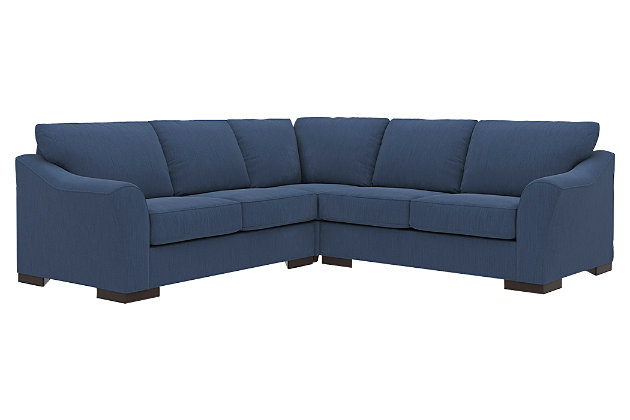 Bantry Nuvella® 3-Piece Sectional, Indigo, large