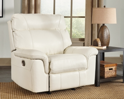 Recliner Ivory Leather Power Product Photo 660