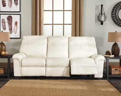 Choose Reclining Sofa Ivory Leather Power Product Photo