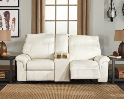 Reclining Loveseat Console Ivory Leather Power Product Photo 267