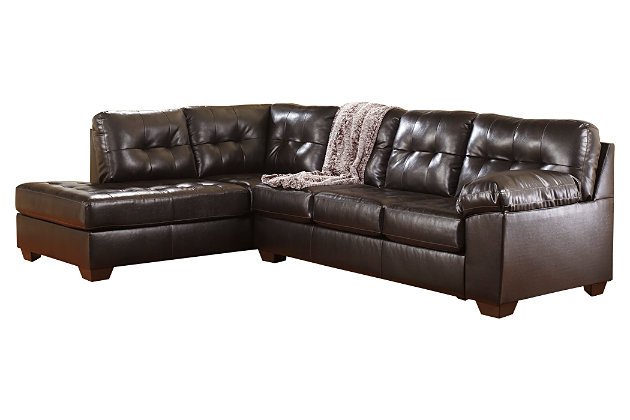Brown Alliston DuraBlend® 2-Piece Sectional by Ashley HomeStore, Cotton/Leather/Polyester/Polypurethane/PVC