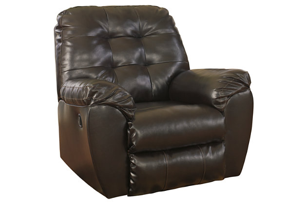 Brown Alliston DuraBlend® Recliner by Ashley HomeStore, Cotton/Leather/Polyester/Polypurethane/PVC