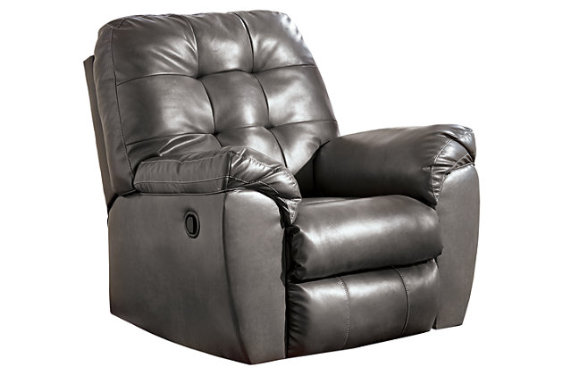 Alliston DuraBlend® Recliner by Ashley HomeStore, Gray, Cotton/Leather/Polyester/Polypurethane/PVC