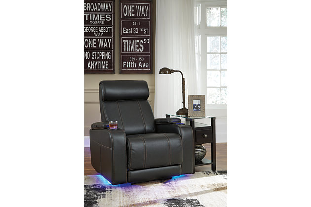 Diamenton Chairside End Table with USB Ports & Outlets, Almost Black, large