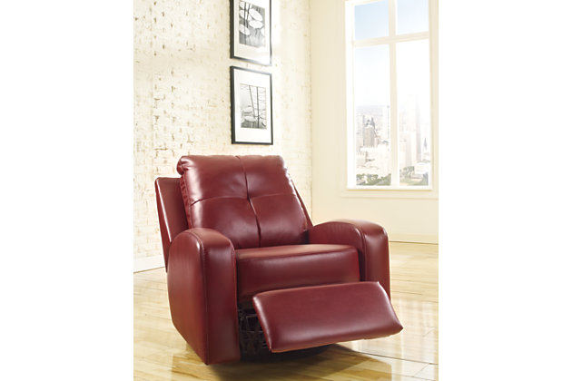 plush sleek durablend feels like leather on our red glider recliner chairs