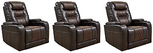 Composer 3-Piece Home Theater Seating, Brown, large