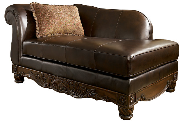 dark brown leather corner chaise lounge with pillow for your living room design - North Shore Living Room Set