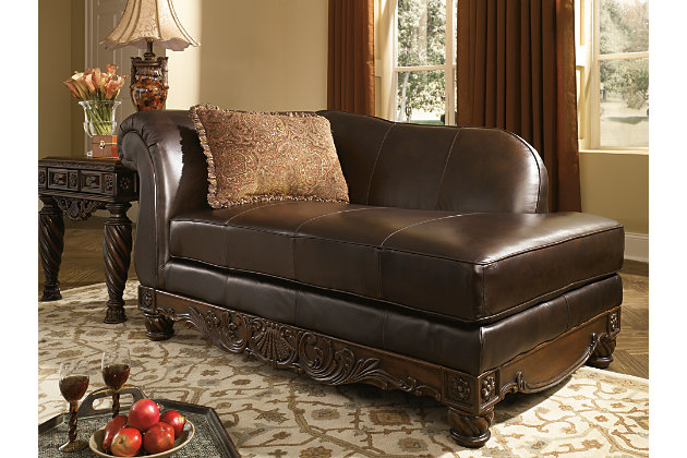 Dark Brown Leather Chaise Lounge With Decorative Wood Accents