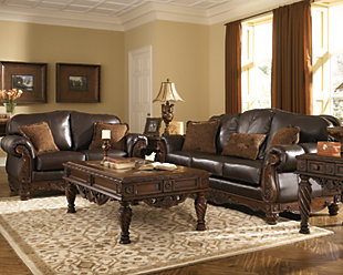 North Shore Loveseat, Dark Brown, rollover