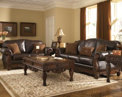 Ashley North Shore Sofa, Dark Brown Leather