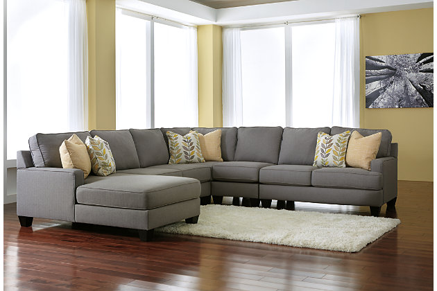 Sophisticated Sleek Alloy Gray Sectional Chaise Sofa