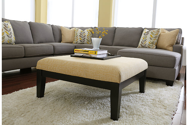 Tan Chamberly Ottoman by Ashley HomeStore, Polyester (100 %)
