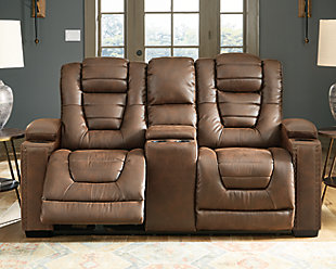 Owner's Box Power Reclining Loveseat with Console, , rollover