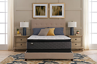 Sealy Surrey Lane Plush Pillow Top Queen Mattress, Black/White/Gray, large