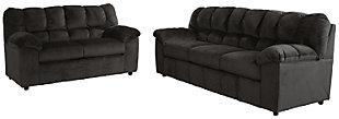 Julson Sofa and Loveseat set, Ebony, large