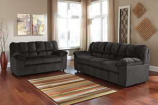 Julson Sofa and Loveseat set, Ebony, rollover